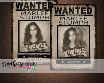 Harry Potter Invitation - Prisoner of Azkaban - Wanted Sign - Printable - DIY - Digital File - Shower  - CUSTOMISED