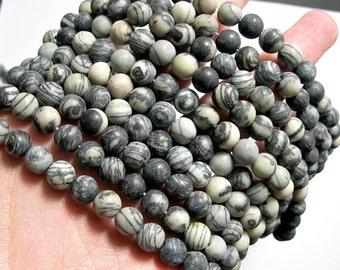 Silk Stone matte - 8 mm - round bead - 47 beads - full strand - WHOLESALE DEAL - Spider Jasper - RFG1549