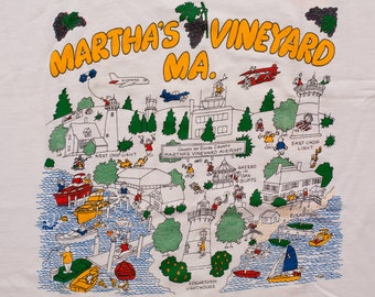 Rare Martha's Vineyard MA T-Shirt, 2-Sided Island Maps, Vintage 80s, Cape Cod Massachusetts, Cartoon Illustrations, Screen Stars Best Tee