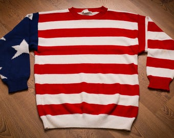 Lew Magram New York Sweater, American Flag, Vintage 80s-90s, Stars & Stripes, Patriotic Long Sleeve Shirt, USA, America Apparel