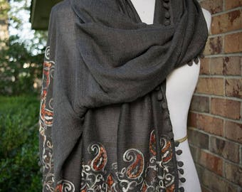 Embroidered Floral Scarf - Charcoal - Fall Winter 2017 Scarf - Embroidered Paisley Scarf