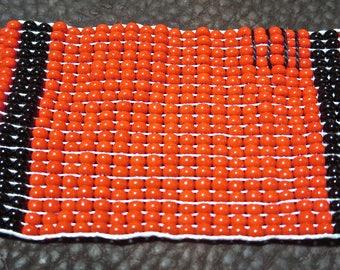 Beaded Hudson Bay Blanket Red ith Black Stripe