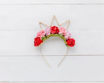 hens party flower crown / hens night flower crown / hens day flower crown / gold crown / birthday girl flower crown / birthday girl crown