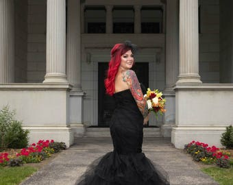 Black Ombre Wedding Dress with Tulle Mermaid Style Custom Made