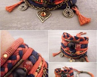 Boho Bracelet, Orange Navy Boho Bracelet Set, Red Agate Bracelet, Assemblage Bracelet Free Spirit Indie Jewelry, Heart Bracelet Coin Charms