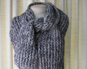 Hand Knit Oversized Long RIB Scarf 100% WOOL Alpaca Gray White Twist / Taupe Tan Beige Twist / NATURAL Undyed Wool Scarf