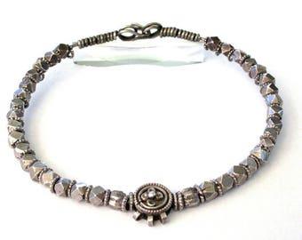 "Vintage South Indian Necklace, Toda Tribe Silver Cube Bead Necklace, Tamil Nadu, Heavy, 193.8 Grams, 43 cm (17""), Hansuli, Torque, Choker"
