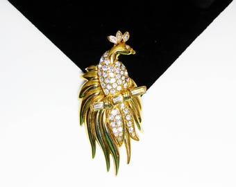 Rhinestone Bird of Paradise Pin - Clear Rhinestones in Gold Tone Tropical Bird on Branch - Vintage 1980's 1990's Jewelry