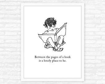 Bookworm Reading Nook Decor art print, Between the pages of a book, custom quote print