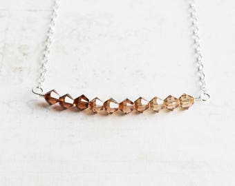 Autumn Crystal Necklace, Shades of Topaz Ombre Necklace, Tiny Bead Bar Necklace on Sterling Silver Chain, Swarovski Elements, Fall Jewelry