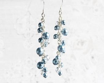 Steel Blue Pearl Cluster Dangle Earrings on Silver Plated Hooks