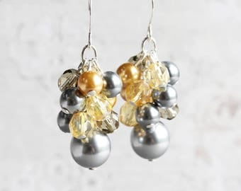 Yellow and Silver Gray Pearl Cluster Dangle Earrings on Silver Plated Hooks