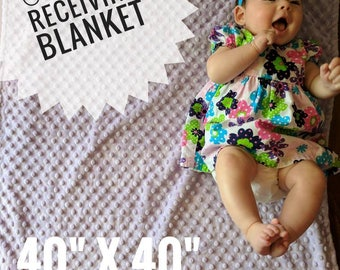 "Custom Receiving Blanket, Baby Blanket, Large 40"" x 40"", You Pick Colors & Patterns, Boy or Girl, Any Color, Flannel, Fleece, Minky, Infant"