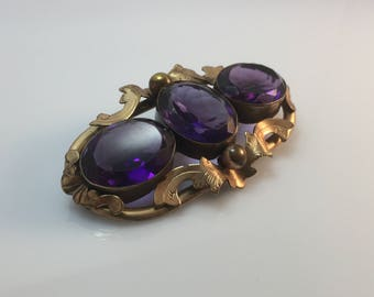 Victorian antique 1800s amethyst glass large trilogy brooch or pin - gold plate or rolled gold