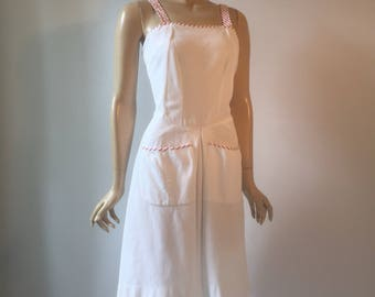 White piqué vintage 1940s sundress with red and white candy stripe contrasting trim