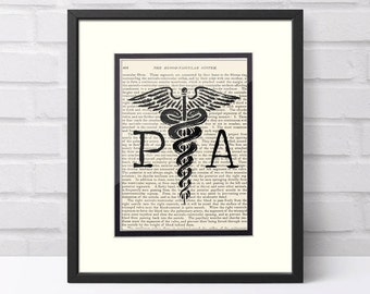 Physician Assistant over Vintage Medical Book Page - Physician Assistant Graduation Gift,  Gifts, PA Student, PA Graduation Gift