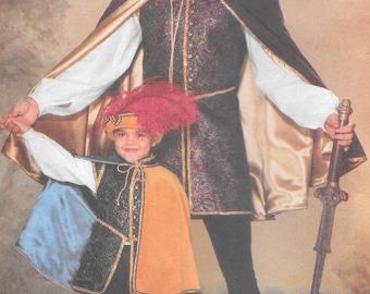 Butterick 5656 Boys Renaissance Costume cape boots doublet Boys size XS, S, M, L  uncut sewing pattern