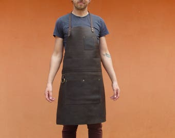 Leather Apron for Chef Carpenter Blacksmith Butcher Tatto Artist Leather Work Apron- Brass Color Hardware* Free Shipping*