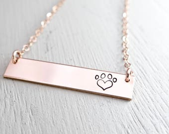 Heart Paw Print Bar Necklace. Add Custom Name. Pet Loss Memorial Gift. Hand Stamped Jewelry for Animal Lover. Paw Print Jewelry.