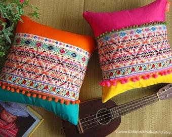 "2 Mexican Boho Throw Pillows - Colorful Boho Geometric Cushion Cover 16x16"""