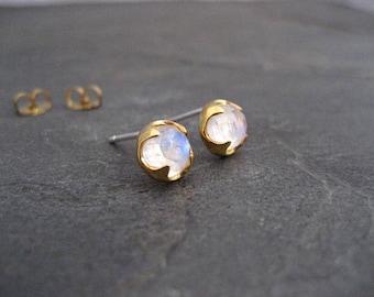 Moonstone stud earrings, rainbow moonstone, gold studs, rose cut jewelry, genuine gemstone, blue flash studs, bezel set, round studs