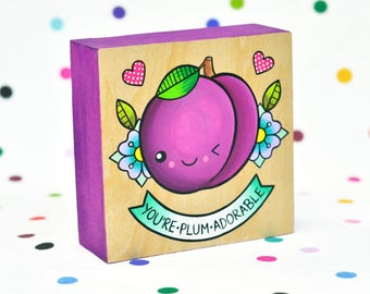 you're plum adorable / original painting on cradled wood panel / fruit pun kawaii art