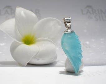 Larimar wing pendant by Larimarandsilver, Caribbean Bird - turquoise Larimar feathers, tiny angel wing pendant, jade wing, aqua teal feather