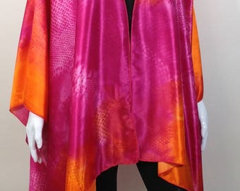 Pink and orange Kimono Poncho