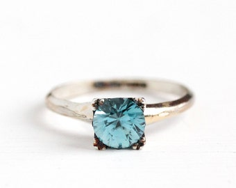 Vintage Sterling Silver Art Deco 1.35 Carat Blue Zircon Ring - 1940s Size 6 Genuine Blue Gemstone Solitaire Clark & Coombs Jewelry