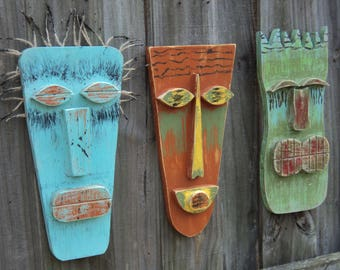 SPIKE, Tiki Man, Tribal Mask, Tiki Bar Decor, Polynesian Tiki, Wood Mask, Tiki Mask, Wood Sculpture, Hawaiian Mask, Hanging Tiki Mask, Art