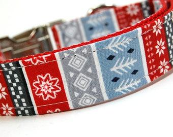 Handmade Dog Collar - The Christmas Sweater - Winter Dog Collar - Geometric Holiday Dog Collar with Red Gray Blue White Arrows