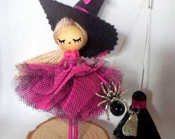 Brooch doll /Doll brooch/Broche de muñeca/Broche poupee/ Witch doll