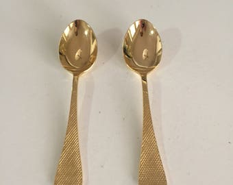 Gold Flatware/Gold Plated Flatware/Two Golden Serving Spoons/Gold Plated Cutlery/By Gatormom13