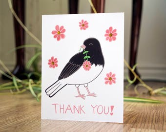 Thank you dark-eyed junco card, blank greeting card, thank you card, animal illustration, cute animals, floral card, nature illustration