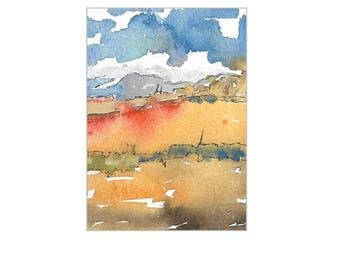 ACEO Landscape Painting  Original Watercolor Southwest Art Mountain Canyon Sky Clouds Handmade SFA