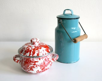 Polish Teal Canister and Marbleware Red Enamel Pot