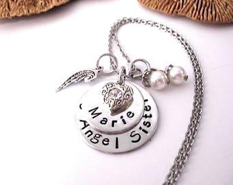 Sister Memorial, Memorial Necklace, Memorial Keychain, Memorial Jewelry, Sister Bereavement, Angel Sister, My Angel Sister, Loss of Sister