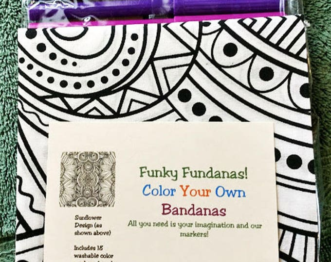 New! Sunflower Color Your Own Bandanas with markers! All  you need is your imagination! Great activity for kids, camps, rainy days, vacation