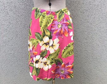Vintage 90s Pink Tropical Floral Skort, Women's Clothing, 90s Skirt, 90s Shorts, Wrap Skirt, Size 8