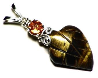 Tiger Eye Necklace, Mandarin Garnet and Tiger Eye Carving Pendant Nature Inspired Gift, Orange Garnet and Leaf Carving Jewelry, Silver Wire