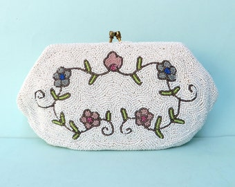 Vintage White Beaded Bridal Purse Clutch/Saks Fifth Avenue/Made in Belgium/Bridesmaid Beaded Purse Clutch