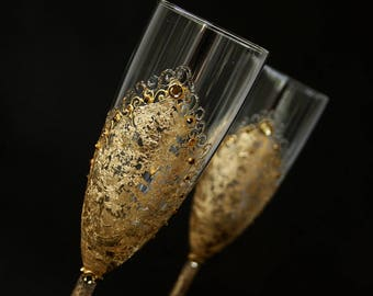 Gold Champagne Glasses, Wedding Glasses, Hand Painted, Set of 2