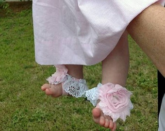 Light Pink Barefoot Sandals ,Shabby Chic Roses, Photo Prop, Weddings