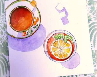 Teacups with shadow. Original watercolor card.