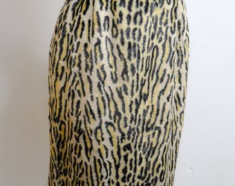 1950s 60s Leopard print wiggle skirt / 1960s 50s animal print faux fur straight skirt - XS