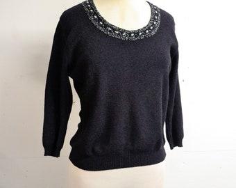 1960s Black beaded embroidered neck sweater / 60s lurex neckline Strathknit jumper top - L XL
