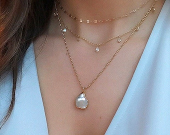 Keshi Pearl Necklace-Dainty Necklace, Pearl, Gold Necklace, Layering Necklace, Pearl Jewelry