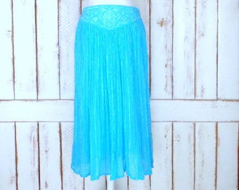 Vintage light turquoise blue embroidered crinkle cotton stretch waist maxi skirt/long Indian boho crinkle skirt/festival skirt/one size