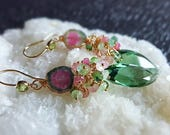 Reserved for C. Watermelon Tourmaline Green Amethyst Prasiolite with Afghan Tourmaline Gemstone Cluster on 14k Gold Fill October Birthstone