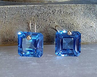 New! 14k Solid Gold London Blue Topaz Solitaire Dangle Drop Earrings Gift For Her